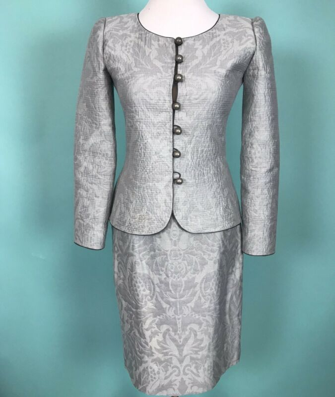 Mary McFadden Couture Cotton Silk Jacket (sz 4) And Skirt (sz 6)