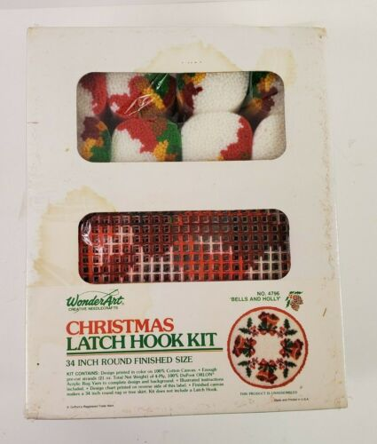 Vintage WonderArt Christmas Latch Hook Kit 34 Inch Round Bells & Holly