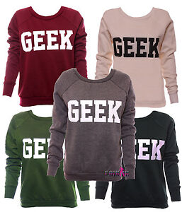 LADIES-WOMENS-GEEK-PRINT-LONG-SLEEVES-CREW-NECK-JUMPER-SWEATER-TOP-SIZE-8-10-12