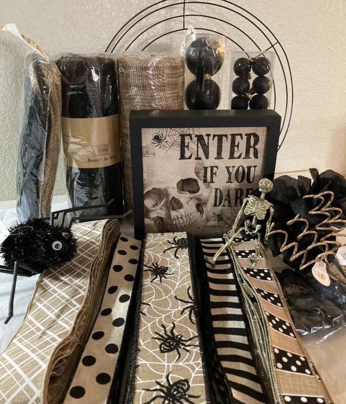 "Halloween DIY wreath kit 10"" Deco Mesh Skull Wood Sign Blk Beige Ribbons NEW"