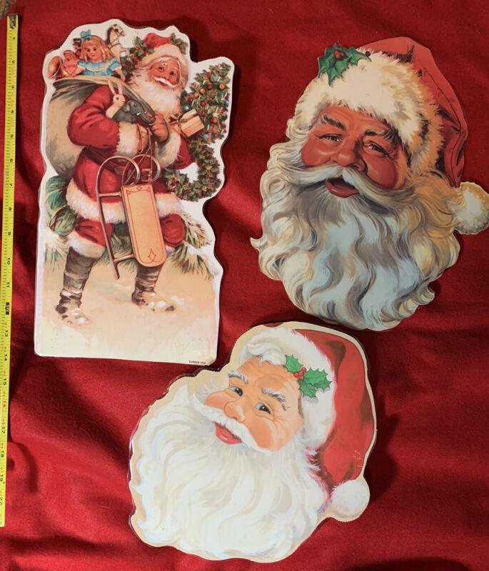 3 Vintage 1980s Eureka Santa Claus Double Sided Cutout Die Cut Christmas Decor
