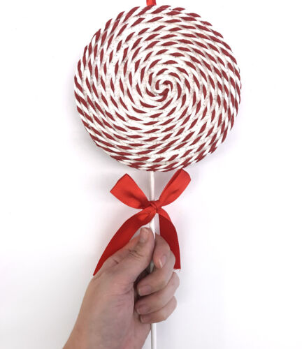 White & Red Lollipop Candy Christmas Ornament Shop Glitter Bow Spiral LG R