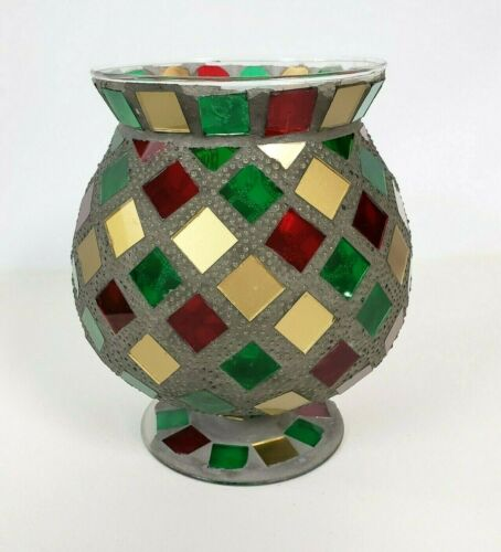 """Red Green & Gold Mosaic Glass Footed Candle Holders 7"""" x 6"""""""