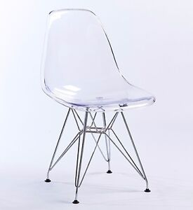Eame Style Ghost Steel Eiffel Chair Clear Transparent DSR Retro Dining X  Office