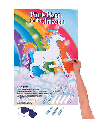 Pin the Horn on the Unicorn Birthday Party Game Horse Pony Girl's
