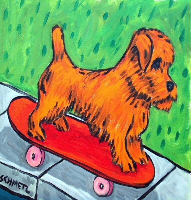 NORFOLK TERRIER dog skate boarding art print on ceramic tile coaster gift modern