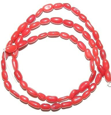 CRL130 Red Bamboo Coral 5mm Freeform Round Tube Nugget Beads 15