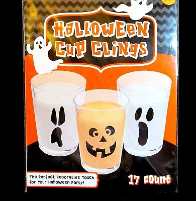 Halloween Clings Stick On Party Decorations Cup Window Spooky Faces 17 Count NIP](Halloween Spooky Faces)