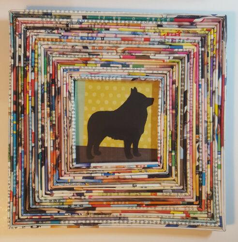 Schipperke Silhouette Rolled Magazine Frame Foik Art Dog Collage