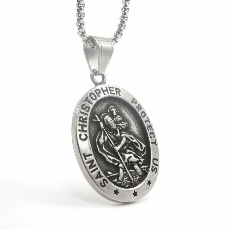 MOYON Mens St Saint Christopher Medal Pendant Necklace Stainless Steel Amulet