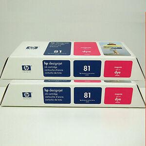 HP-81-Magenta-C4932A-Ink-Designjet-5000-5500-OEM-2007-2x-Pak