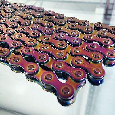 KMC Z510HX SINGLE SPEED CHAIN BMX NEO CHROME OIL SLICK JET FUEL BMX 1/8  for sale  USA