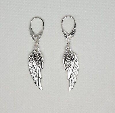 Silver Rose Angel Wing .925 Sterling Silver Leverback  Earrings