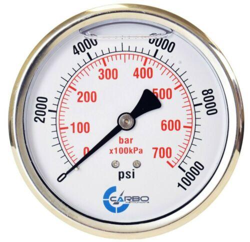 "2-1/2"" Pressure Gauge, ALL STAINLESS STEEL, Liquid Filled, Back Mnt, 10000 Psi"