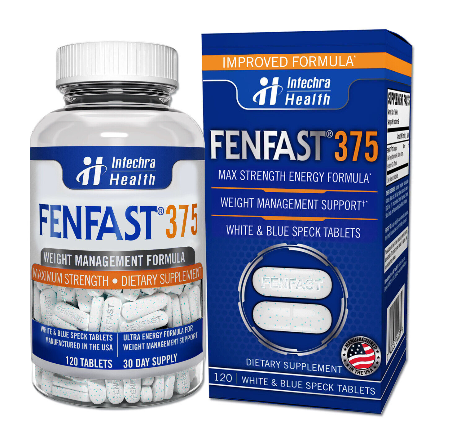 FENFAST 375 Best Weight Loss Diet Pills + Maximum Energy 120 White/Blue Tablets  2