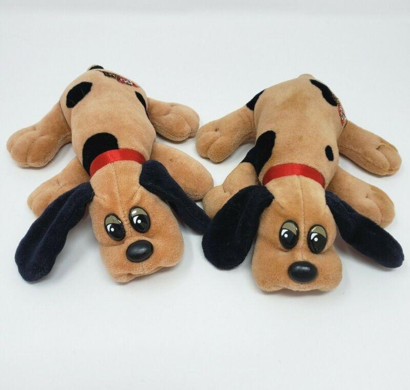 2 VINTAGE TONKA POUND PUPPIES TAN W/ SPOTS PUPPY DOG STUFFED ANIMAL PLUSH TOY  F