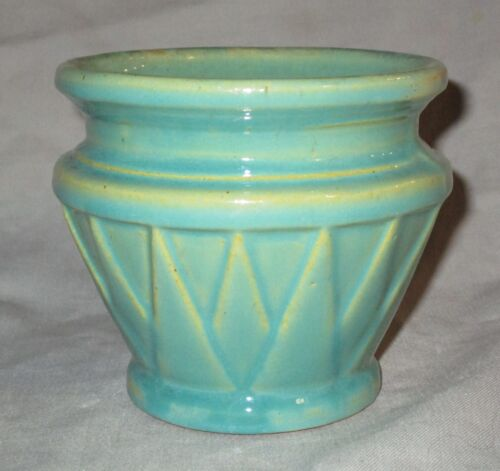 "Old 1920s McCOY SUNBURST JARDINIERE Aqua Green Art Deco Pottery Vase Small 4"" XL"