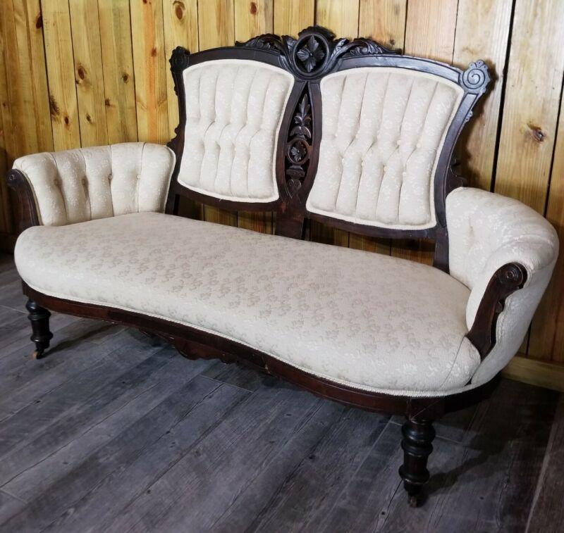 "Antique Eastlake Victorian Carved Walnut Sofa Love Seat Settee 65"""