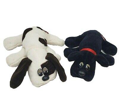 2 VINTAGE TONKA POUND PUPPIES BLACK & WHITE PUPPY DOG STUFFED ANIMAL PLUSH TOY G
