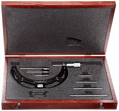 Starrett Interchangeable Anvil Metric Outside Micrometer Set 0-100mm 0.01mm