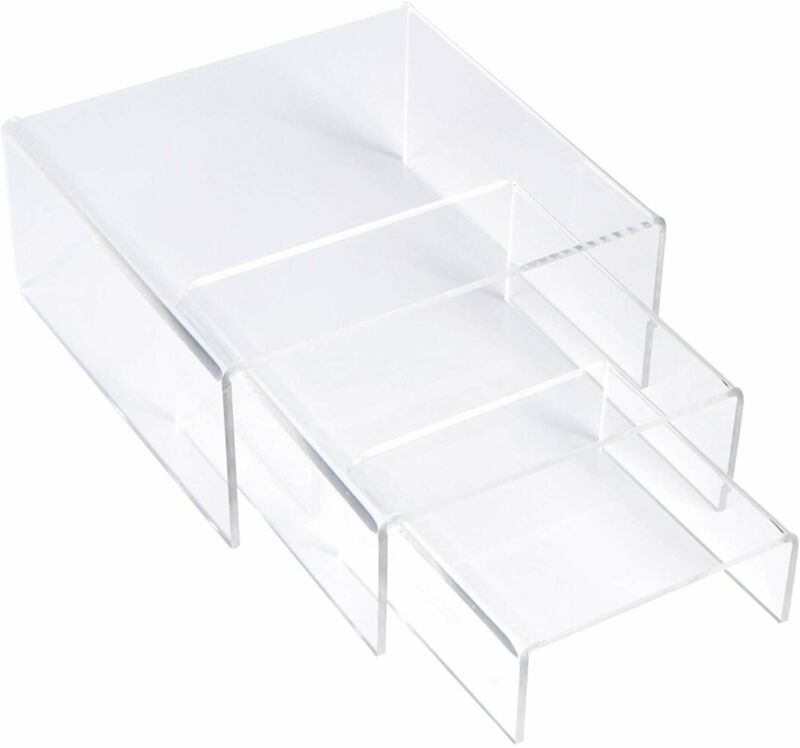 [3-Set] SimbaLux® Acrylic Display Risers Clear Stand Medium Low Profile Tiered