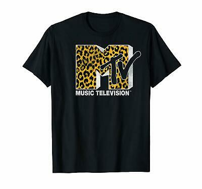 Black Cheetah (Black MTV Logo Cheetah Print Graphic T-Shirt Men's S-6XL  US 100% Cotton)