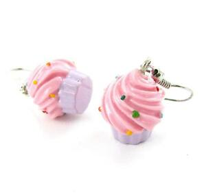 Cute Pink Cupcake Desert Dangle Woman Teen Earrings Lovely