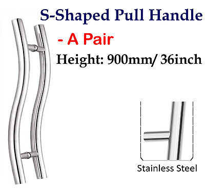 Set of Long Door curved Push / Pull Handles, Stainless Steel 36