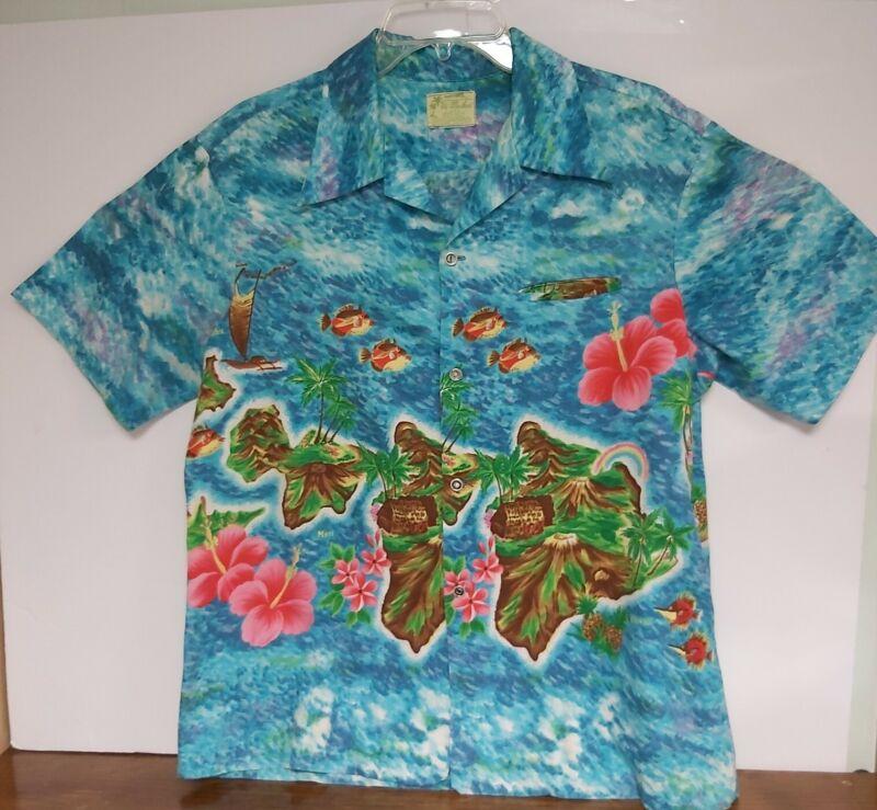 Ui-Maikai Mens Small 100% Cotton Shirt with Sleeve Pocket preowned vintage