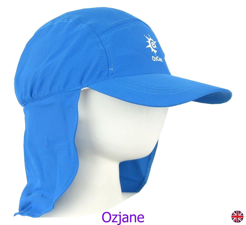 BABY BOYS UV 50 OZCOZ SUN SWIM HAT SUN PROTECTION LEGIONNAIRE BLUE 1 TO 2 YRS