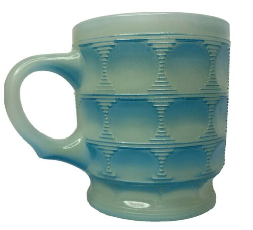 Fire King Ware / Anchor Hocking Blue Two Tone Milk Glass CAMELOT THUMBPRINT Mug