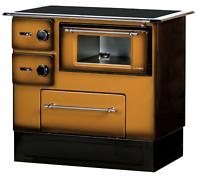 stufa a legna cucina con forno acciaio 50 63 kw piastra portalegna cappuccino