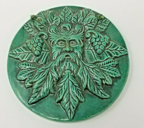 Vintage Ceramic Nature Tree Spirit Celtic The Greenman Hanging Wall Decor Plaque