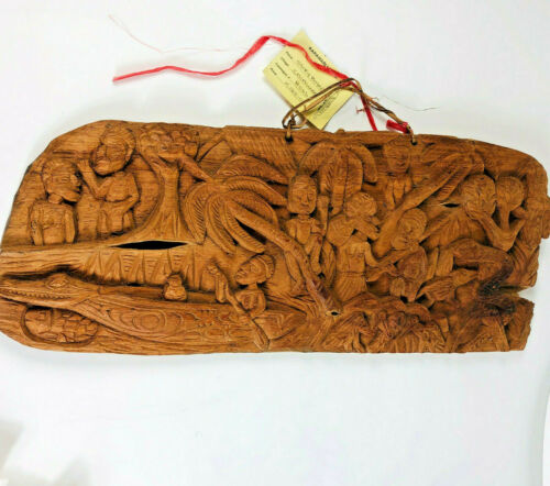 VINTAGE PAPUA NEW GUINEA Chimundo Village Large CARVED WOOD Relief STORY BOARD