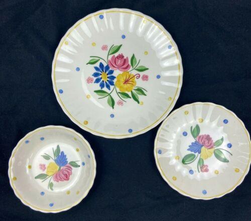 Mixed Lot of 3 Southern Blue Ridge Pottery Polka Dot Bowl & Plates USA Vintage