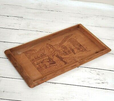 Vintage California Redwood Tray Carved Mexican Scene Fiesta Rustic Remote Holder