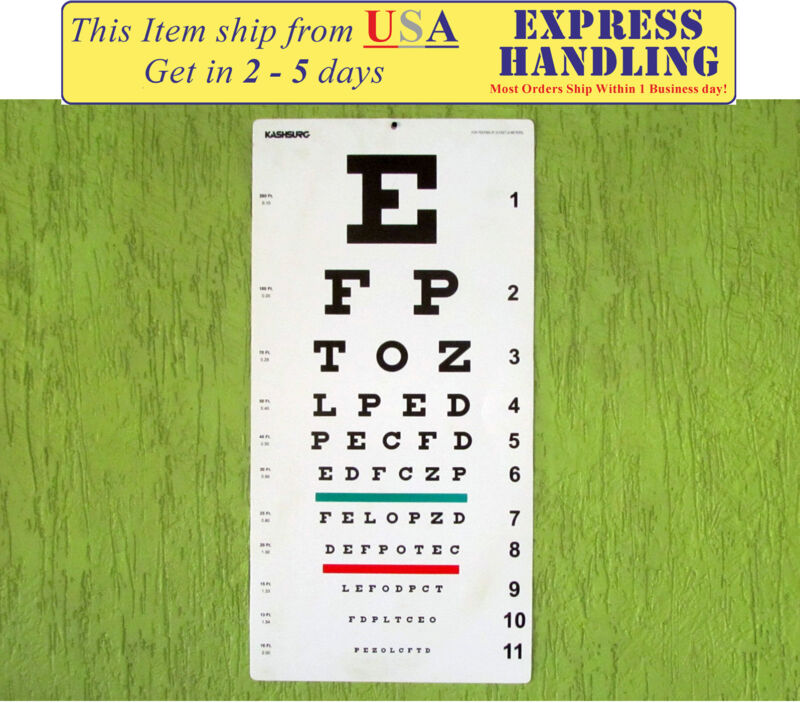 Snellen Distance Vision Eye Chart 20Ft (Pack of 1) Free Shipping
