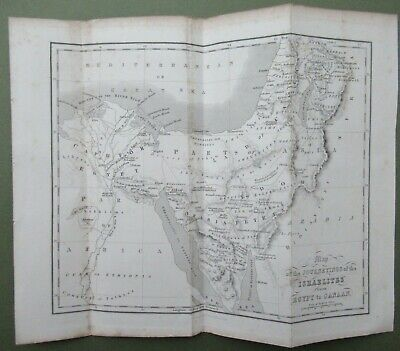 Antique Map Journey of Israelites From Egypt To Canaan 1900