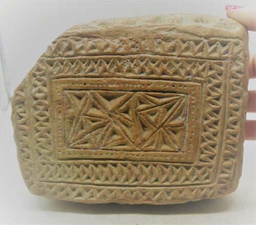 ANCIENT NEAR EASTERN DECORATED TERRACOTTA TEMPLE BRICK RARE