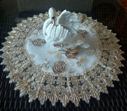 Doily 16 Inch Metallic Gold Rose Lace Victorian Flower