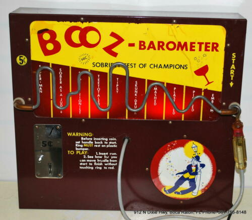 1950s Vintage Working Booz Barometer Nickel Coin Operated Bartop Arcade Machine