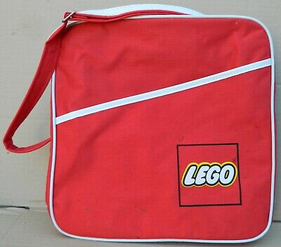 """1980's Vintage Red ~LEGO~ Carrying Bag with zipper ~Tote~ Shoulderbag 12""""x12"""""""