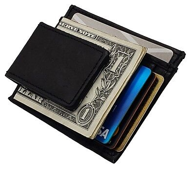 Mens Leather Money Clip Slim Front Pocket Magnetic ID Credit Card Wallet Black