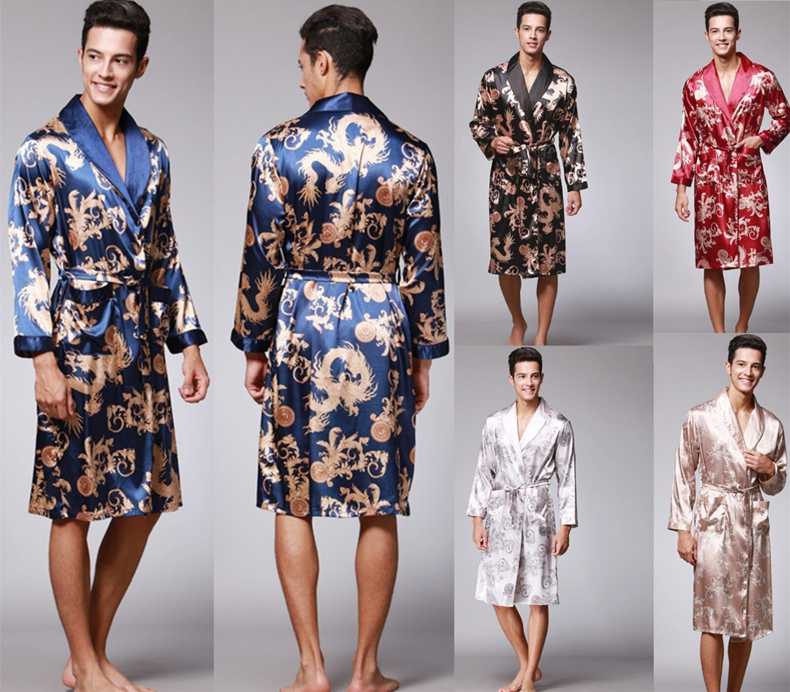 UK Mens Satin Silk Pajamas Kimono Bathrobe Robe Dressing Gowns Pjs Loungewear