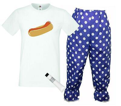 Captain Spaulding Costume (Captain Spaulding 1000 Corpses Hot Dog T-Shirt & Long Blue Polka Dot Bloomers)