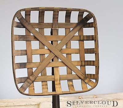"""Tobacco Basket, Rustic Farmhouse Decor, Sm 17"""" Square Great Display for Wreaths"""