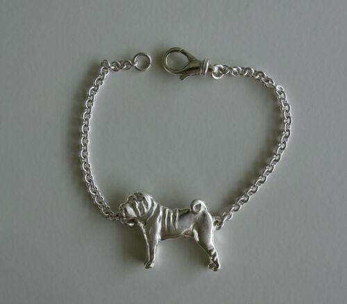 Small Sterling Silver Shar Pei Standing Study Bracelet