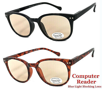 Round Computer Glasses Anti UV Reflective Blue Light Ray Readers for Men & (Uv Reader Glasses)