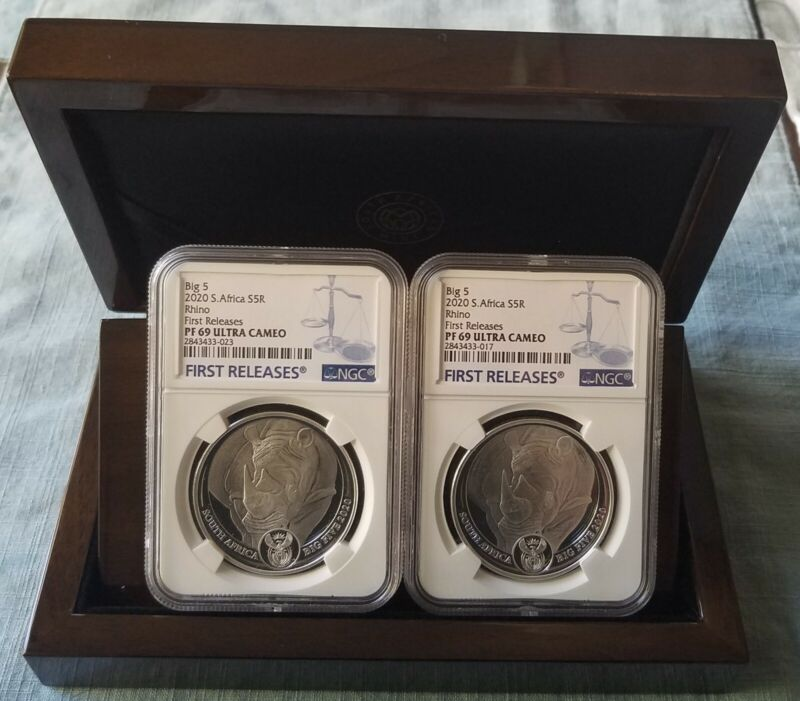 2020 South Africa BIG 5 RHINO (2) Coin Set NGC PF69 UC W/ OMP FIRST RELEASES