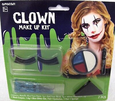 Amscan Clown Make Up Kit Face Paint Glitter Gel Eyelashes Includes Instructions (Painting A Clown Face)